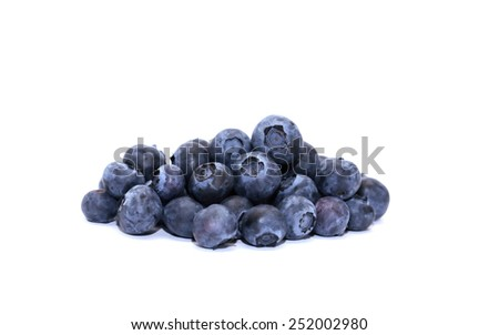 Pile of fresh blueberries on white background - stock photo