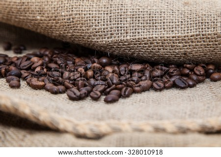 Pile of fresh roasted coffee beans