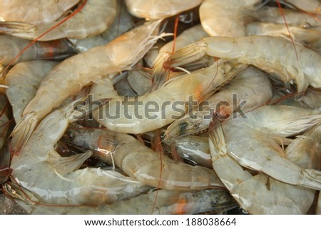 pile of fresh shrimps for retail sale in local market