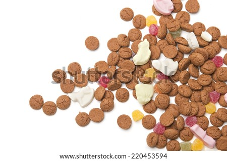 Pile of gingerbread nuts or pepernoten, typical Dutch candy for a dutch holiday sinterklaas on the fifth of december - stock photo