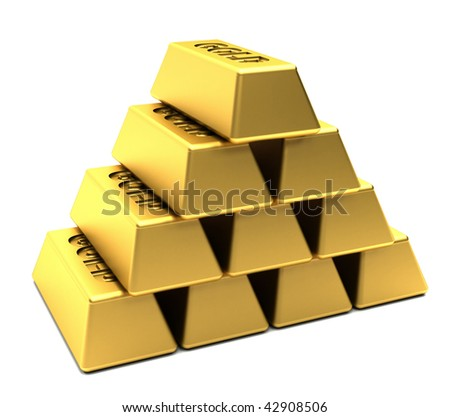 Pile of gold bars stacked in a pyramid isolated over white - stock photo