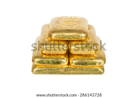 pile of  gold bullion isolated on white - stock photo