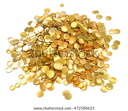 Pile of gold coins with no image. 3d illustration. Isolated on white.