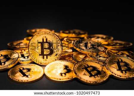 Pile of golden Bitcoins