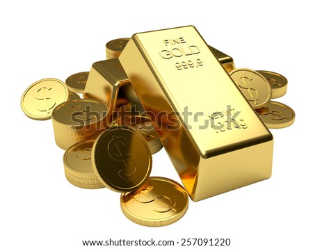 Pile of golden coins and golden bars isolated on white background - stock photo