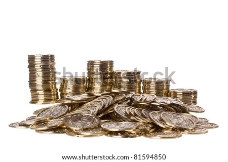 Pile of golden coins and stacks in the back isolated on a white background.