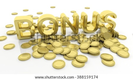 Pile of golden coins and word Bonus, isolated on white background. - stock photo