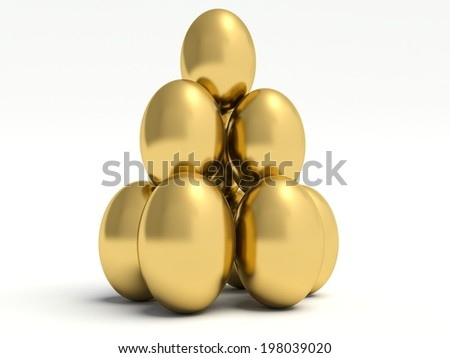 Pile of golden eggs. 3d render illustration.