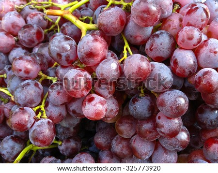 Pile of grapes sold at fruit market