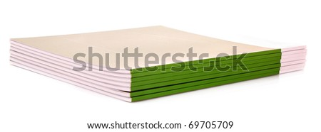 Pile of green journals isolated on white - stock photo