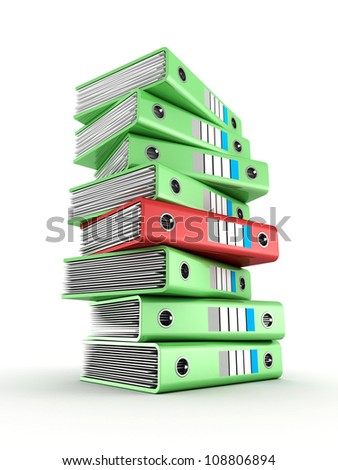 pile of green office ring binders with one red selected - stock photo