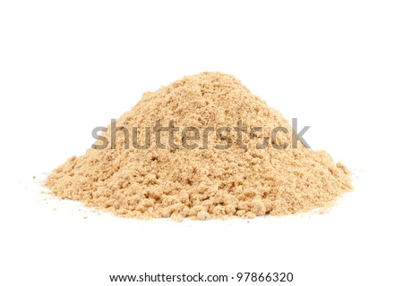Pile of Ground Ginger (Zingiber officinale) isolated on white background. Used as a delicacy, medicine or spice all over the world.