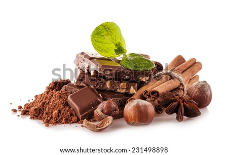 Pile of hazelnut chocolate isolated on white background
