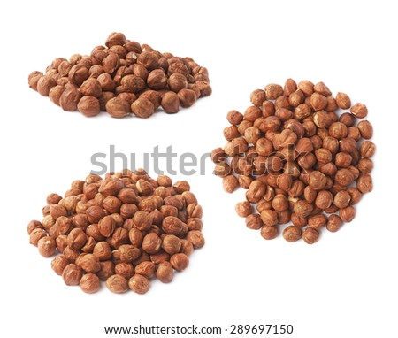 Pile of hazelnuts isolated over the white background, set of three different foreshortenings