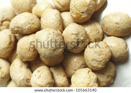 Pile of Homemade Bread Balls ( Buns ) Top View - stock photo