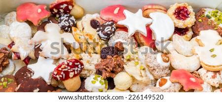 Pile of homemade Christmas Cookies - stock photo