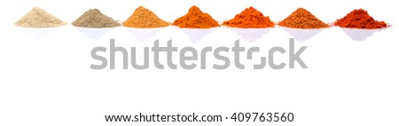Pile of hot and spicy spices powder, cayenne powder, chilly powder, peppercorn powder, paprika powder, black pepper and white pepper powder over white background - stock photo