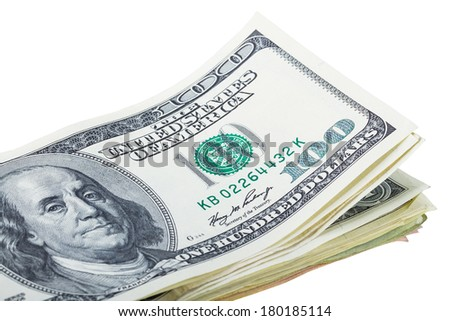 Pile of hundred dollar banknotes isolated over white - stock photo