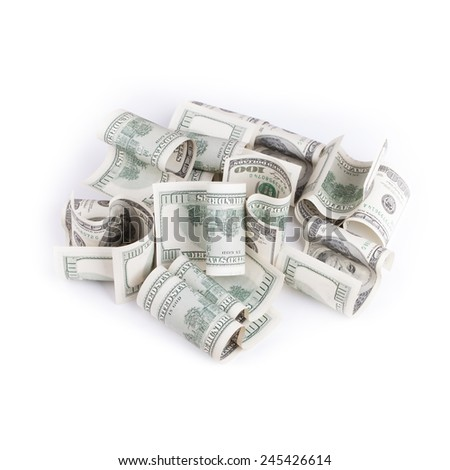 Pile of hundred USD banknotes isolated on white background. Selective focus - stock photo