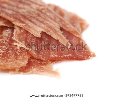 Pile of jamon slices isolated