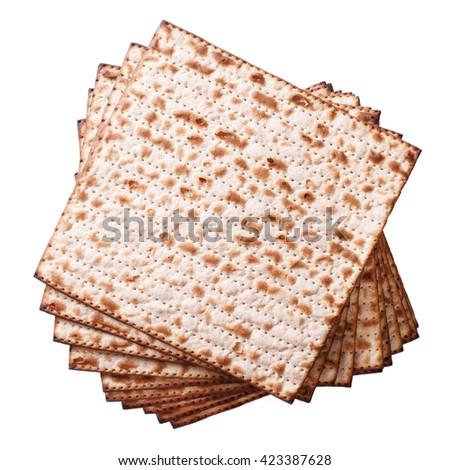 Pile of Jewish matzo Flatbread isolated on white background, top view - stock photo