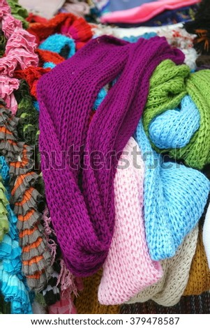 Pile of knitted scarves in the Otavalo Market