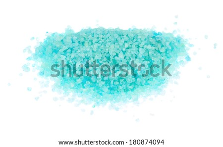 Pile of large colored salt crystals isolated over the white background - stock photo