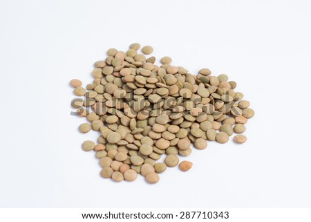 Pile of lentils - isolated