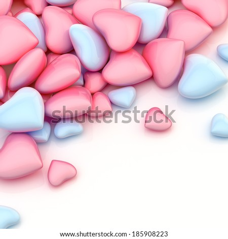 Pile of light blue and pink colored hearts over a glossy surface as a background composition
