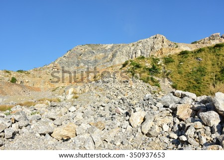 pile of limestone quarry