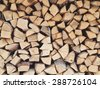 Pile of logs or stack of firewood as a symbol of Russian village, country life style and retro custom to stoke of stove in wooden house - stock photo