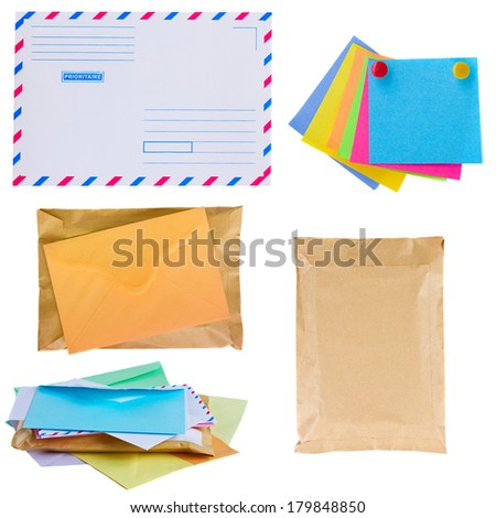 pile of mail, envelopes and stickers  isolated on white background - stock photo