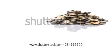 Pile of Malaysian coins over white background