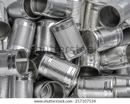 Pile of many empty food cans - stock photo