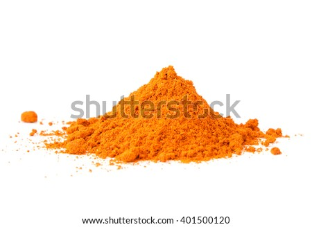 Pile of Masala Powder for fish, meat, chicken,  vegetables on white background. Indian spice mix - stock photo