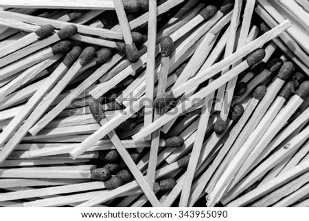 Pile of matches, close up