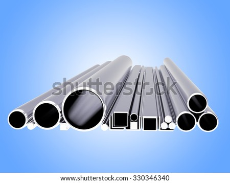 Pile of metallic pipes of various diameters and shapes on blue background  - stock photo