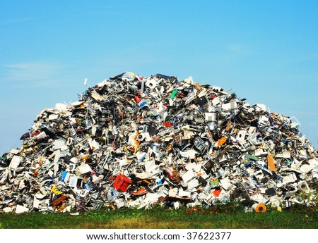 Pile of metallic waste on a recycle site - stock photo