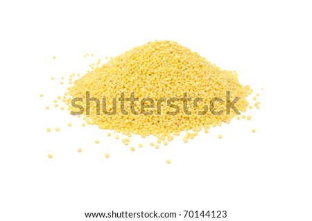 Pile of Millet Cereal Isolated on White Background