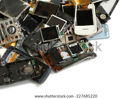 Pile of mobile phone scrap isolated on white background - stock photo