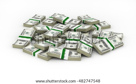 pile of money american dollar bills 3d illustration