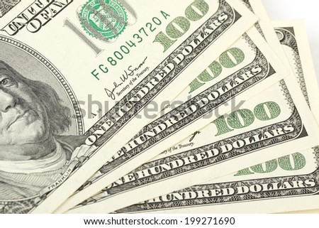 Pile of money american hundred dollar bills - stock photo