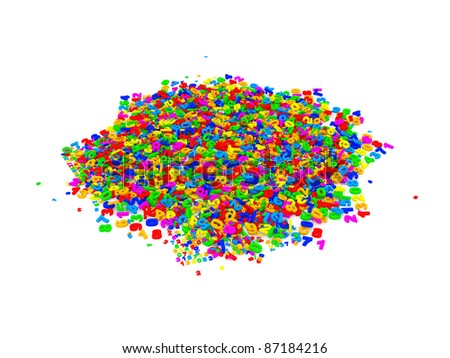 Pile of multicolored figures on white background