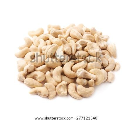 Pile of multiple cashew nuts isolated over the white background - stock photo