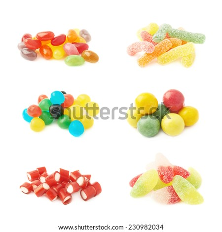 Pile of multiple colorful jelly bean candy sweets isolated over the white background, set of six different kinds of candies - stock photo