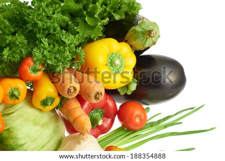 Pile of multiple different vegetables over the white background - stock photo