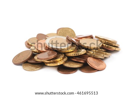 Pile of multiple euro coins isolated over the white background