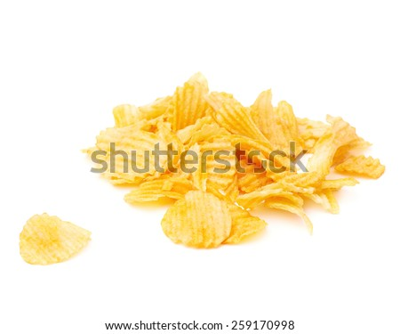 Pile of multiple ribbed wavy yellow potato chips snacks isolated over the white background - stock photo