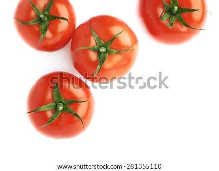 Pile of multiple ripe red tomatoes isolated over the white as a copyspace background composition - stock photo