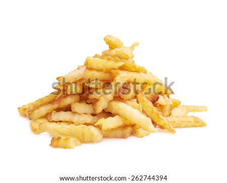 Pile of multiple wavy french fries isolated over the white background